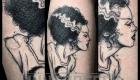 frankensteins Braut sketch work black and grey fineline Tattoos Leipzig Eliza Báthory